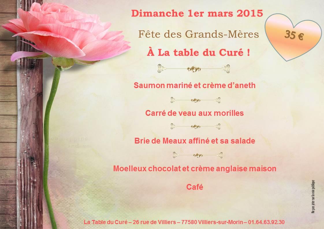 la table du cur f tes des grands m res dimanche 1er mars 2015 On date de la fete des grands meres 2015