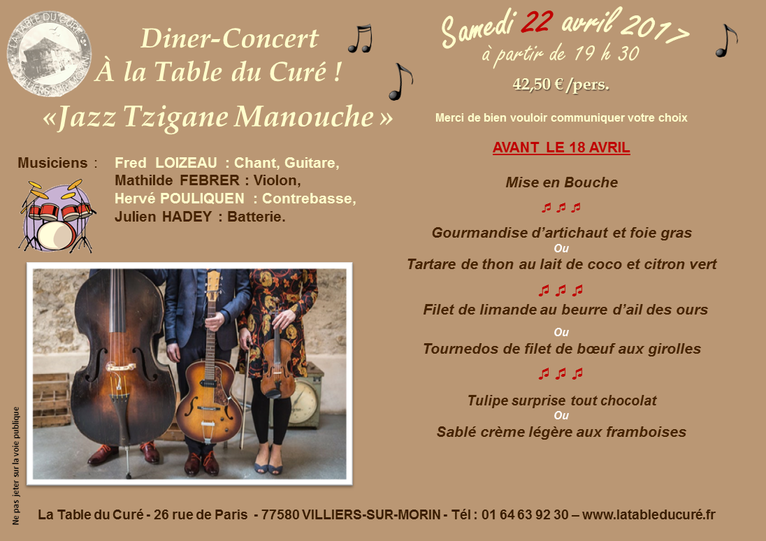 SOIREE TZIGANE 22 AVRIL 2017