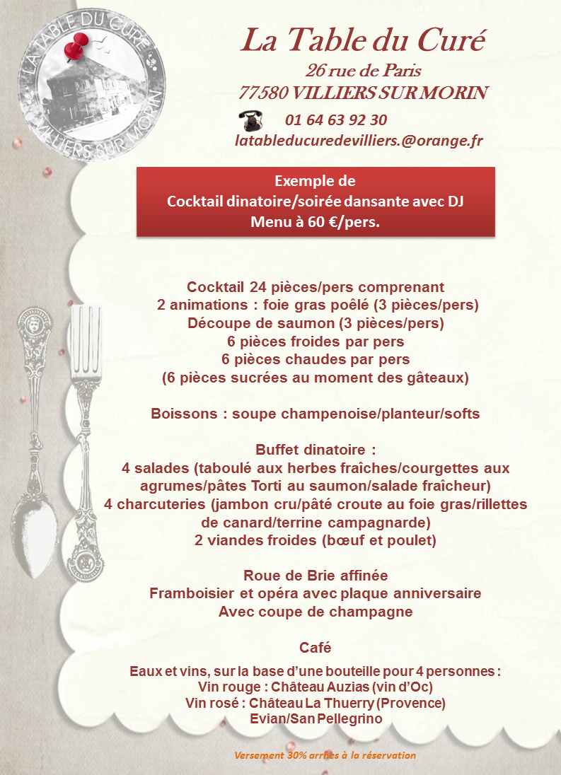 EXEMPLE COCKTAIL ET SOIREE DANSANTE